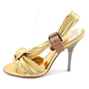 NWOB Bcbgmaxazria All Leather Gold Sandals